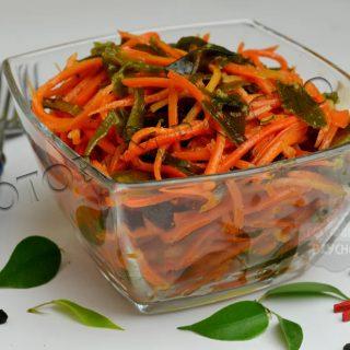 Пикантно-острый салат из моркови и сушеной морской капусты